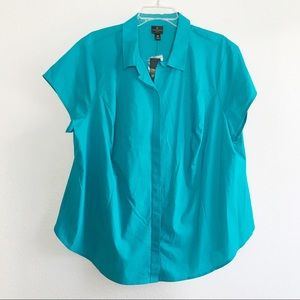 Worthington Button Front Shirt Top Turquoise